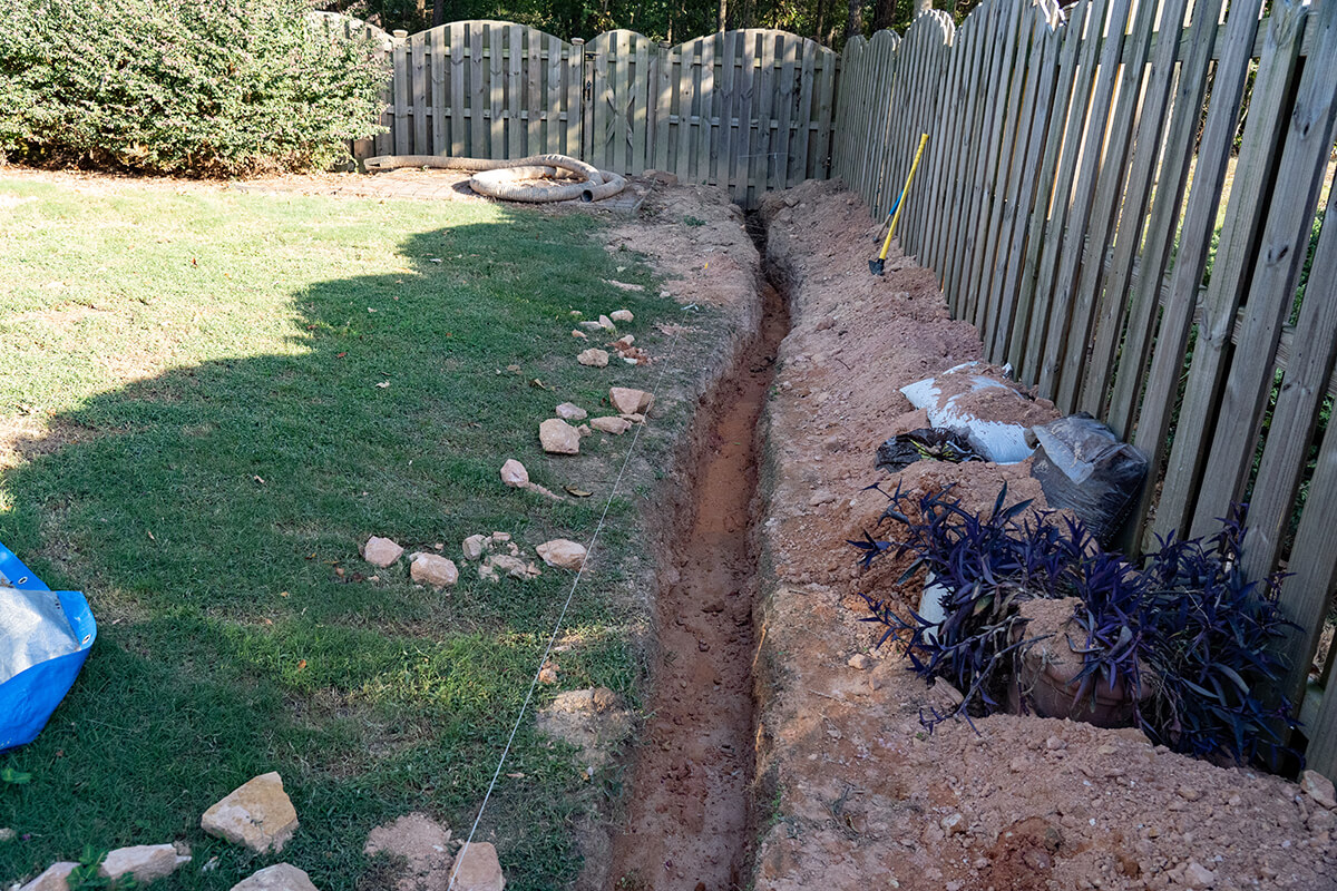 Photo of a french drain installation